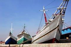 Indonesia, Jakarta: Sunda Kelapa. Indonesia, Jakarta: boats at Sunda Kelapa an ancient sea port; one of the most famous ports on the construction of the royalty free stock image