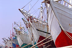 Indonesia; Jakarta: Sunda Kelapa. Indonesia, Jakarta: boats at Sunda Kelapa an ancient sea port; one of the most famous for the construction of the traditional royalty free stock images