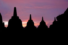 Indonesia, Java, Borobudur: Sunset Royalty Free Stock Photography