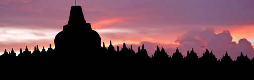 Indonesia, Java, Borobudur: Sunset Royalty Free Stock Images