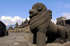 Indonesia, Java, Borobudur: Temple. Detail of a stone lion's guard royalty free stock photography