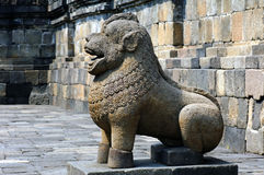 Indonesia, Java, Borobudur: Temple. Indonesia, Java, Borobudur: the temple guardians; stone seated lions statues representing the guards and protectors of the royalty free stock photography
