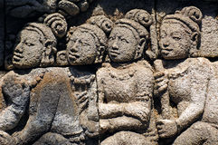 Indonesia, Java, Borobudur: Temple. The carved images of borobudur temple; the most famous buddhist bas- relief of southeast asia , the life of buddha stock photo