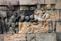 Indonesia, Java, Borobudur: Temple. The carved images of borobudur temple; the most famous buddhist bas- relief of southeast asia , the life of buddha royalty free stock images