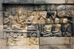 Indonesia, Java, Borobudur: Temple. The carved images of borobudur temple; the most famous buddhist bas- relief of southeast asia , the life of buddha stock image