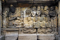Indonesia, Java, Borobudur: Temple. The carved images of borobudur temple; the most famous buddhist bas- relief of southeast asia , the life of buddha royalty free stock photos