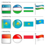 Indonesia and Kazakhstan, Uzbekistan Flag Icon Stock Images