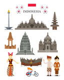 Indonesia Landmarks and Culture Object Set Royalty Free Stock Images