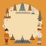 Indonesia Landmarks, People in Traditional Clothing, Frame Stock Image