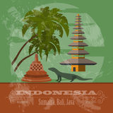 Indonesia landmarks. Retro styled image. Vector illustration Royalty Free Stock Photos