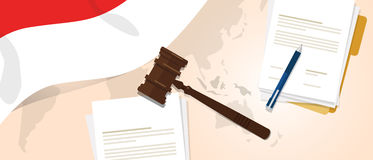 Indonesia law constitution legal judgement justice legislation trial concept using flag gavel paper and pen Royalty Free Stock Photography