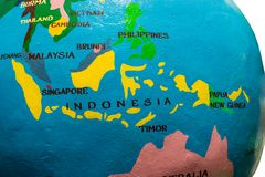 Indonesia and malaysia map. Globe with asian countries, asian adventure on a map, planning countries for travel, yakuy globe with islands of indonesia royalty free stock image