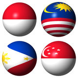 Indonesia Malaysia Philippines Singapore flags Stock Photo