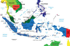 Indonesia map. Detailed vector map of Indonesia with country borders, county names, main roads and a highly detailed state silhouette Stock Photo