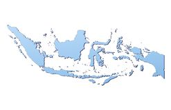 Indonesia map. Filled with light blue gradient. High resolution. Mercator projection Royalty Free Stock Photo