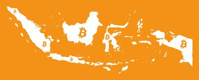 Indonesia map with bitcoin crypto currency symbol illustration. Indonesia map with bitcoin crypto currency symbol Stock Image