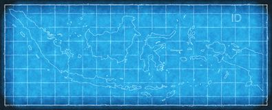 Indonesia map blue print artwork illustration silhouette. Art Stock Photos