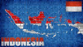 Indonesia map on a brick wall. Illustration, nGrunge map and flag of Indonesia on a brick wall, nText with the Indonesia flag Royalty Free Stock Images