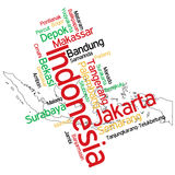 Indonesia map and cities. Map of Indonesia and text design with major cities stock illustration