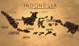 Indonesia map Coffee Bean producer on Old Paper. Digital art Stock Image