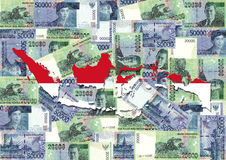 Indonesia map with currency Stock Photos