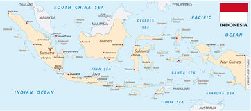 Indonesia map with flag. Map of Asian island nation Indonesia with flag Royalty Free Stock Photos