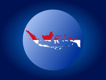 Indonesia map flag sphere Stock Photos