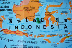 Indonesia map. Macro shot of Indonesia map with push pin stock photos