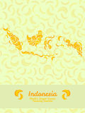 Indonesia map made of bananas. Vegan texture. Food background. Stock Photography