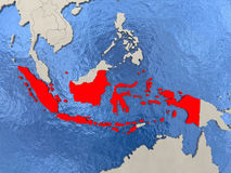 Indonesia on map. Indonesia in red on political map with watery oceans. 3D illustration Royalty Free Stock Image
