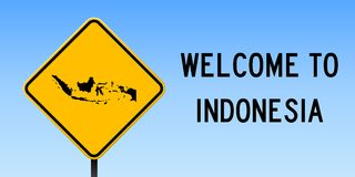Indonesia map on road sign. Wide poster with Indonesia country map on yellow rhomb road sign. Vector illustration Stock Images