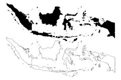 Indonesia map vector. Illustration, scribble sketch Republic of Indonesia Royalty Free Stock Image