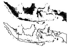 Indonesia map vector. Illustration, scribble sketch Republic of Indonesia Royalty Free Stock Photos