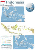 Indonesia maps with markers. Set of the political Indonesia maps, markers and symbols for infographic Stock Images