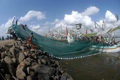Indonesia Maritime's Regulation. The fisherman was on the boat at Muncar Beach, Banyuwangi, East Java, Indonesia Stock Image