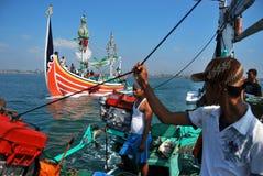 Indonesia Maritimes Regulation. The fisherman was on the boat at Muncar Beach, Banyuwangi, East Java, Indonesia Stock Images