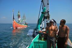 Indonesia Maritimes Regulation. The fisherman was on the boat at Muncar Beach, Banyuwangi, East Java, Indonesia Stock Photos