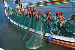 Indonesia Maritimes Regulation. The fisherman was on the boat at Muncar Beach, Banyuwangi, East Java, Indonesia Stock Image