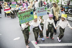 INDONESIA MODERATE TOLERANT ISLAM. Muslim students are attending campaign to commemorate the Prophet Muhammad's Birthday, in Solo, Java, Indonesia. Though Islam Stock Photography