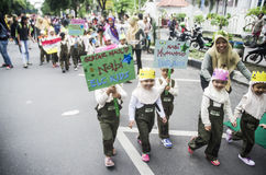 INDONESIA MODERATE TOLERANT ISLAM. Muslim students are attending campaign to commemorate the Prophet Muhammad's Birthday, in Solo, Java, Indonesia. Though Islam Royalty Free Stock Image