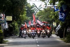 INDONESIA MULTIPARTY POLITICAL SYSTEM. Political campaign organized by the Indonesian Democratic Party of Struggle in Solo, Java, Indonesia. In the history of Royalty Free Stock Image
