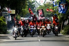 INDONESIA MULTIPARTY POLITICAL SYSTEM. Political campaign organized by the Indonesian Democratic Party of Struggle in Solo, Java, Indonesia. In the history of Royalty Free Stock Photo