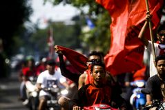 INDONESIA MULTIPARTY POLITICAL SYSTEM. Political campaign organized by the Indonesian Democratic Party of Struggle in Solo, Java, Indonesia. In the history of Stock Photography