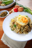 Indonesia Nasi Goreng fried rice with egg on white plate Stock Photography