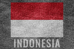 INDONESIA nation flag on jean texture design Stock Images