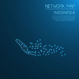 Indonesia network map. Abstract polygonal map design. Internet connections vector illustration Stock Image