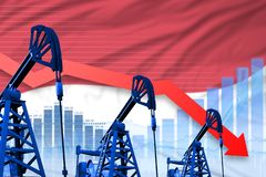 Lowering, falling graph on Indonesia flag background - industrial illustration of Indonesia oil industry or market concept. 3D. Indonesia oil industry concept royalty free illustration