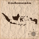 Indonesia old map with grunge and crumpled paper. Vector illustration Royalty Free Stock Image