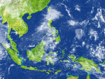 Indonesia on planet Earth. Indonesia. 3D illustration with detailed planet surface. Elements of this image furnished by NASA Stock Image
