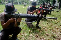 INDONESIA POLICE ANTI GUERILLA COURSE. Members of the 2nd sub-detachment of Central Java Police Mobile Brigade C Detachment, carry out an anti-guerilla Stock Photography